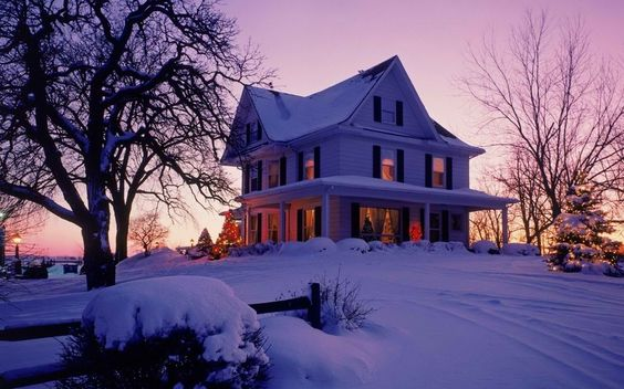 Природа, Дом, сумерки, Пейзаж, деревья, зима