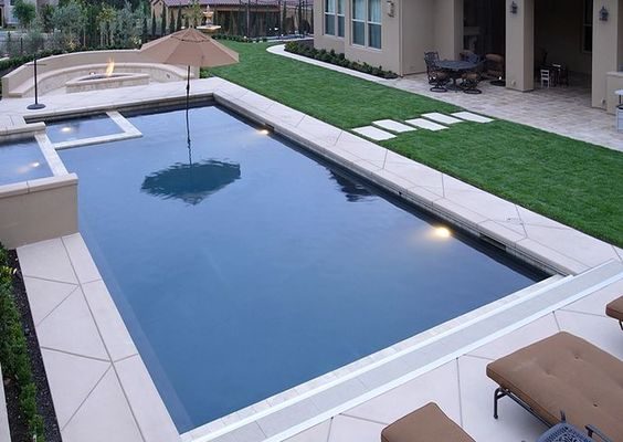 Fire pits rectangular pool and we on pinterest for In ground pool coping ideas
