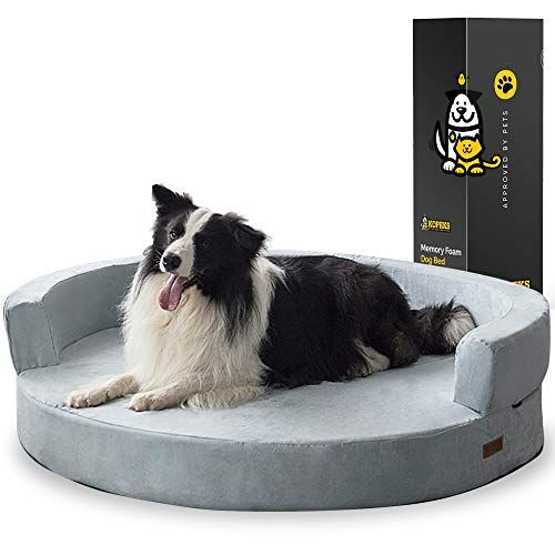 Kopeks Deluxe Orthopedic Memory Foam Round Sofa Lounge Dog Bed Jumbo Xl Grey Memory Foam Sofa Dog Sofa Bed Bolster Cushions