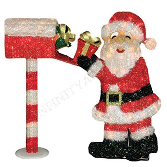 Papai Noel com Caixa de Correio para Decoração Natalina com 85 Lâmpadas 84cm 110/220V 1 unid. - Infinity Artigos