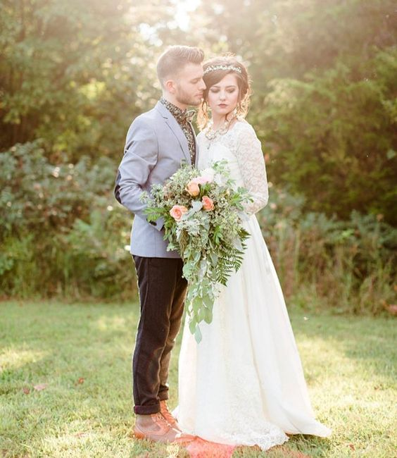 """Alyssa wore a 1950s vintage #weddingdress and the grooms attire was nothing less than perfect. Dillian actually admitted to me that his entire outfit was planned around his shoes which were amazing! -  @lyndseypaigephoto  #wedding #outdoorwedding #campgroundwedding #bohowedding #DIYwedding #backyardwedding #confettidaydreams #weddingceremony #justmarried #bridetobe #IsaidYes #instawed #instalove #twilightwed #breakingdawn #weddingblog #cascadebouquet #groom #groomstyle"