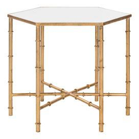 """Hexagonal accent table in golden with Chinoiserie-style faux bamboo legs.    Product: Accent tableConstruction Material: Iron and mirrored glassColor: Gold Dimensions: 20"""" H x 17"""" W x 17"""" D"""