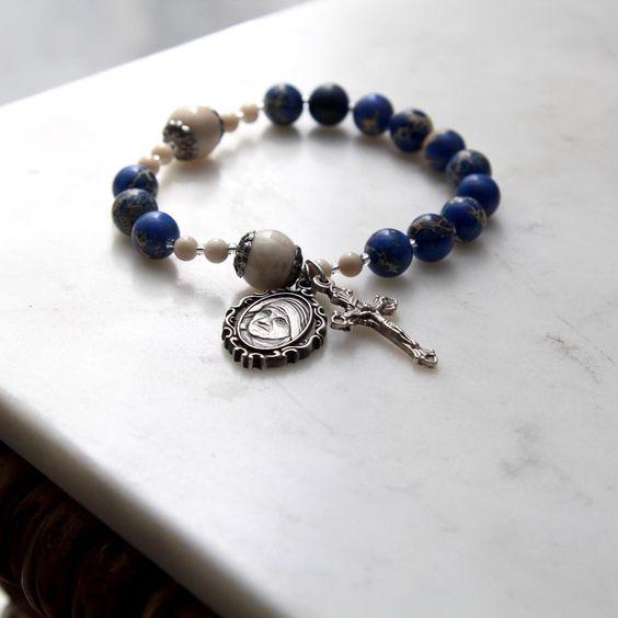 Lovely new Mother Teresa rosary bracelet! The marbled blue & white beads are stunning!