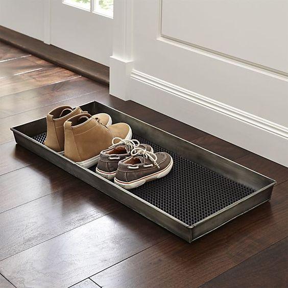 Zinc Boot Tray with Liner 2 for under mudroom bench $39.95 crateandbarrel.com