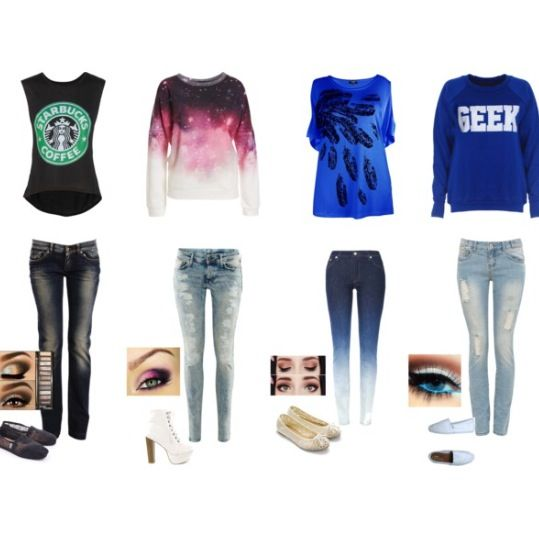 Four cute comfy outfits.