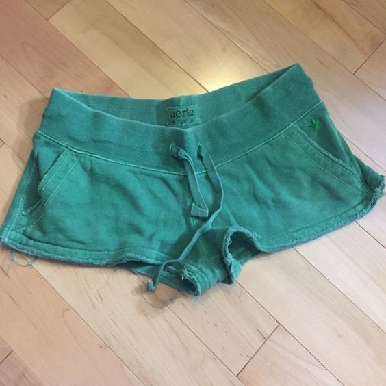 Green shorts Green shorts from Aerie size small. Pockets! aerie Shorts
