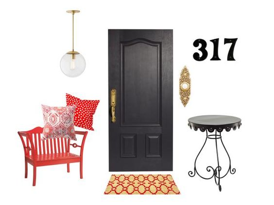 Front Door Arbor Grove Collection three-panel fiberglass door, $785, clopay.com for stores; Paint: Witching Hour by ColorLife by Sherwin-Williams; Baldwin Prestige Avendale handleset with Tobin lever in polished brass, $189, homedepot.com;