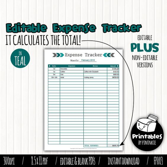 Editable Monthly Expense Tracker, Printable Expense Log, Expenses - monthly expense report