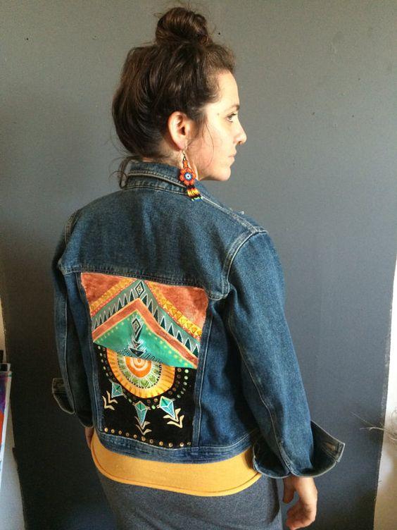 Canada Goose toronto outlet fake - Geometric Tribal Symbol Painted Denim Jacket by Lynzee Lynx | My ...
