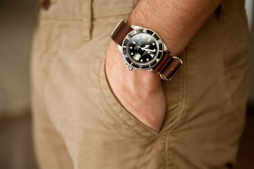 Rolex Submariner with Leather NATO strap