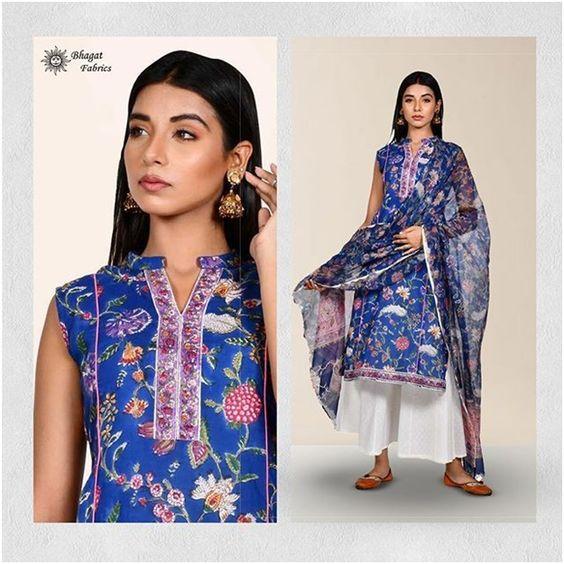 Sleeveless eye capturing colored kurti-Bhagat Fabric