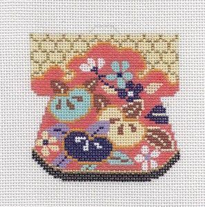 LEE Oriental Peach & Gold Petite Kimono handpainted Needlepoint Canvas Ornament