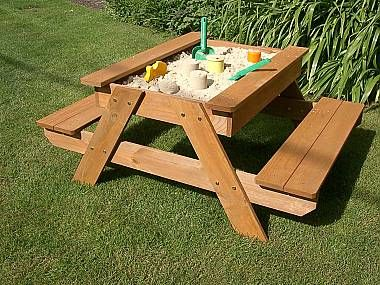 sand and picnic table, but would also be cool garden table.