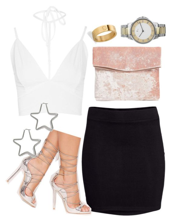 """leigh insp"" by bekahtee ❤ liked on Polyvore featuring Boohoo, H&M, Missguided, ASOS, West Coast Jewelry, Jacques Lemans and Reclaimed Vintage"