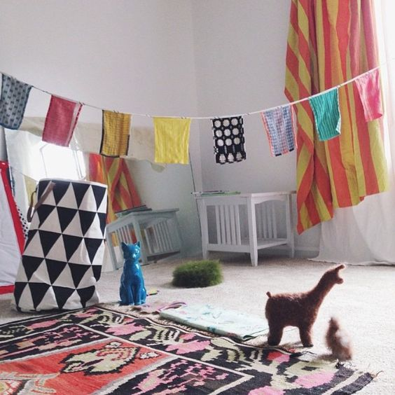 An Ace & Jig Bazaar flag hanging in Adrienne of State the Label's nursery