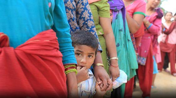 Nepal Earthquake: Families waiting in line
