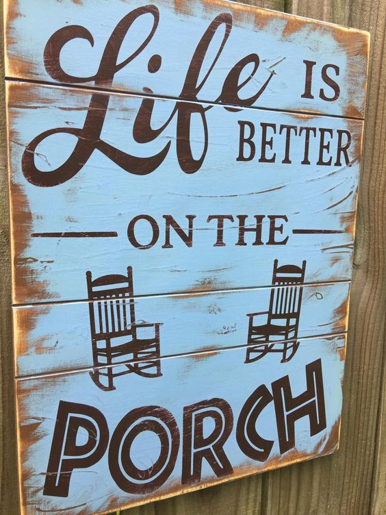 Life is better on the Porch/wood porch sign/front door | Etsy