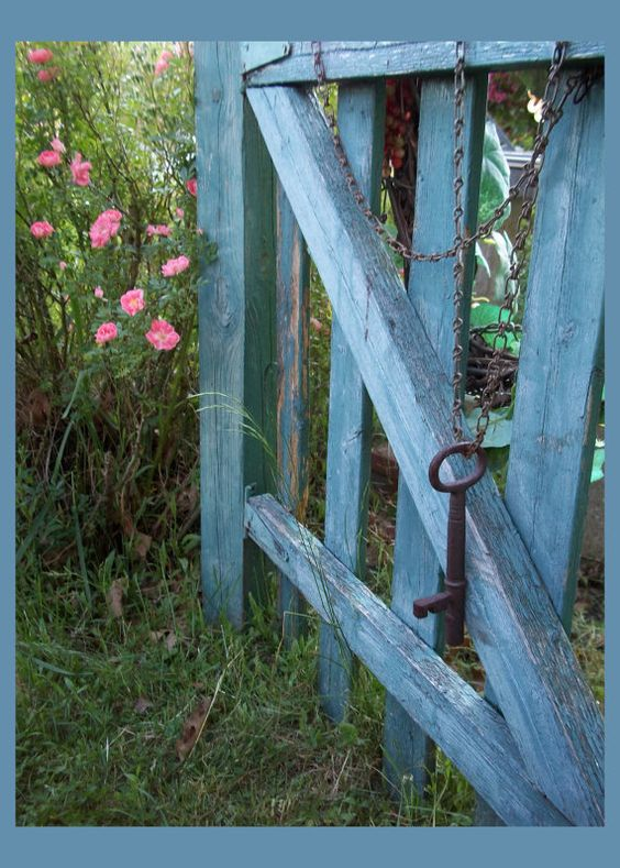 blue gate with key Outside Pinterest Gardens, Pin it button - Windows Fences