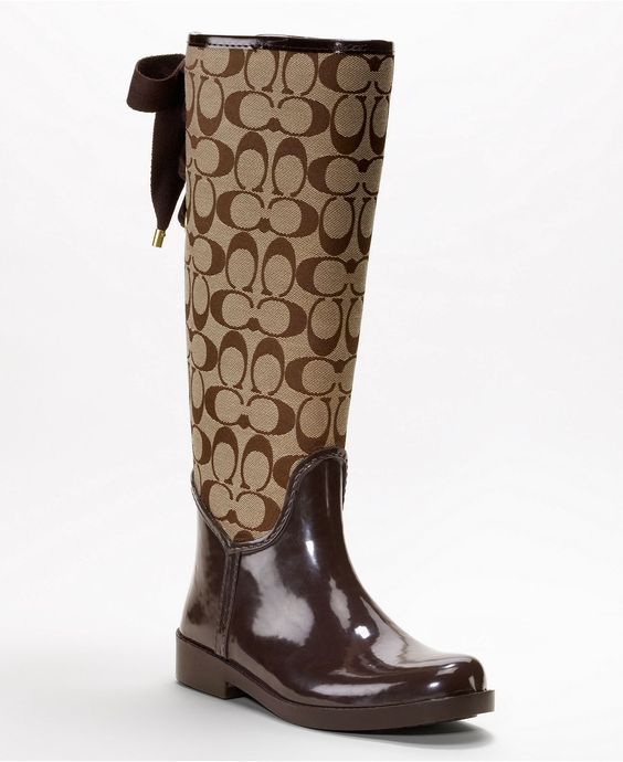 Brown coach rain boots. Bought these yesterday and they are just ...
