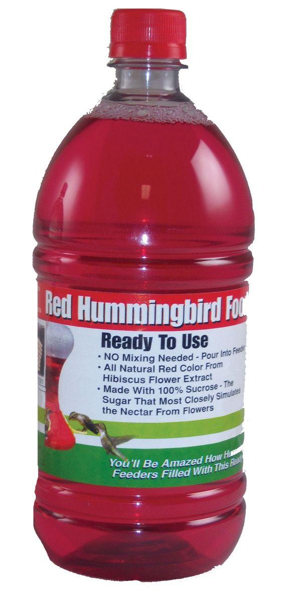 1 Liter (33.8 oz) Red Ready-To-Use Hummingbird Nectar    www.wildbirdshops.com