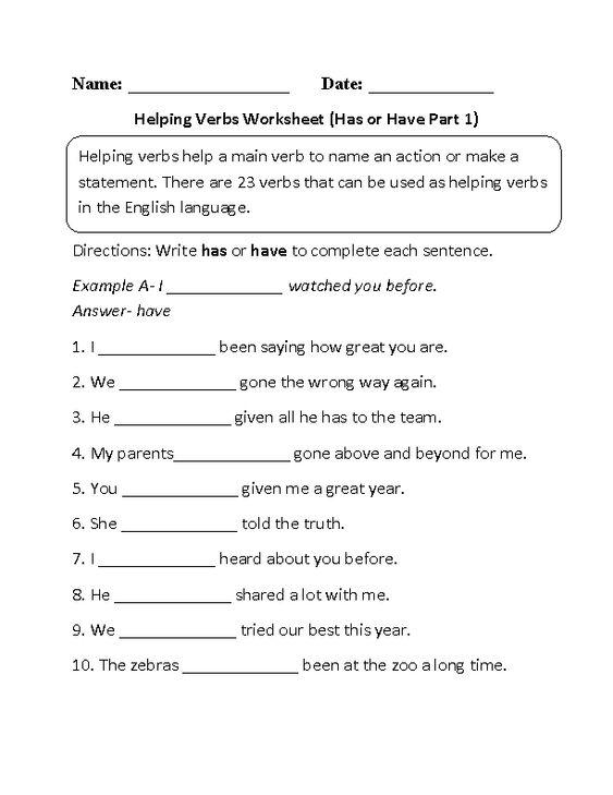 Has or Have Helping Verbs Worksheet Part 1 Beginner | ESL ...