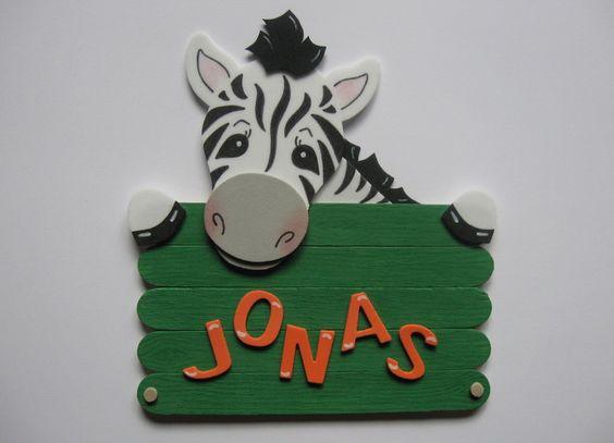 conchila ~ Türschild Zebra ~ Wunschname von conchila auf DaWanda.com