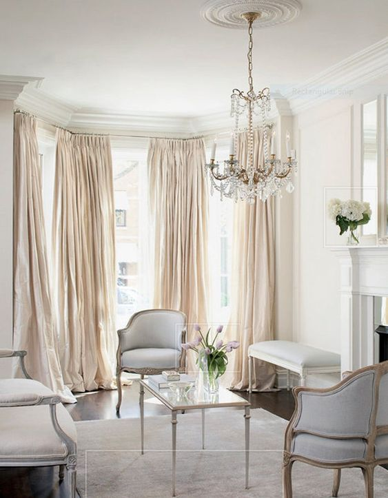 Pleated Window Curtains Faux Dupioni Silk Drapes Champagne Etsy French Living Rooms French Country Living Room Country Living Room