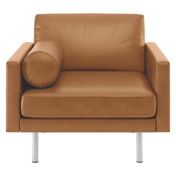 SPENCER Mid tan leather armchair, metal legs