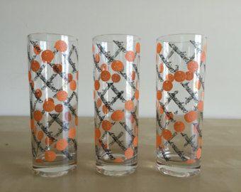 Vintage Highball Screwdriver Orange Dot Glasses by Tastesetter by GrowingOldVinatge on Etsy