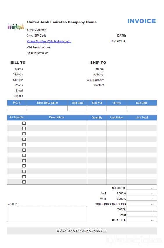 United Arab Emirates Invoice Template jignesh Pinterest - bill invoice