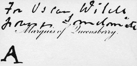 Carte injurieuse déposée par le marquis de Queensberry au Club d'Oscar Wilde