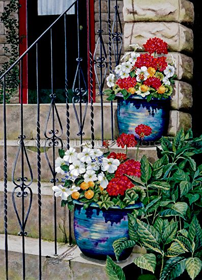 Stone Steps by Mary Irwin Watercolor ~ 29 x 20