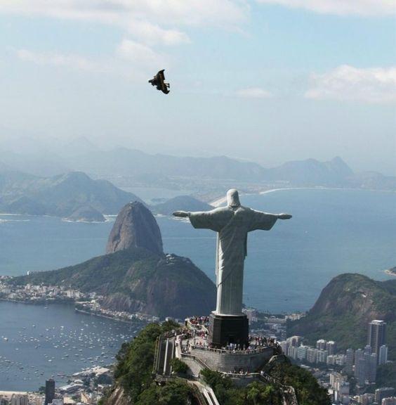Jetman Yves Rossy Flies Rio de Janeiro (Breitling sponsored) wrist-style