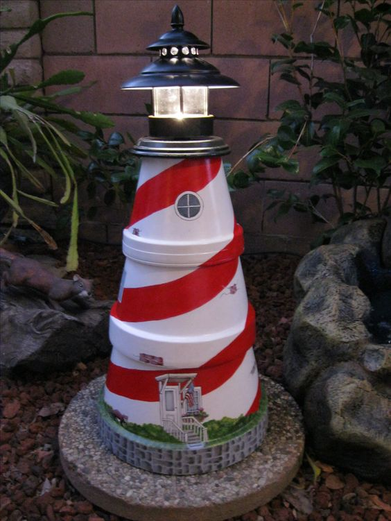 lighthouse made from clay pots garden pinterest ton. Black Bedroom Furniture Sets. Home Design Ideas
