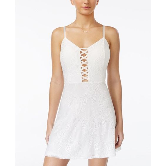 Material Girl Juniors' Lace Lattice-Front Fit & Flare Dress, ($20) ❤ liked on Polyvore featuring dresses, white, white flare dress, lace cut out dress, lace dress, white lace dress and lacy white dress