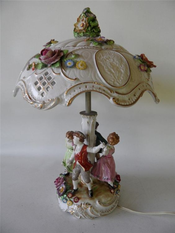 Vintage East German Dresden Porcelain Lithophane Floral