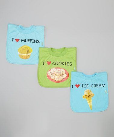 Another great find on #zulily! 'Cookies', 'Ice Cream' & 'Muffins' Favorite Food Bib Set #zulilyfinds