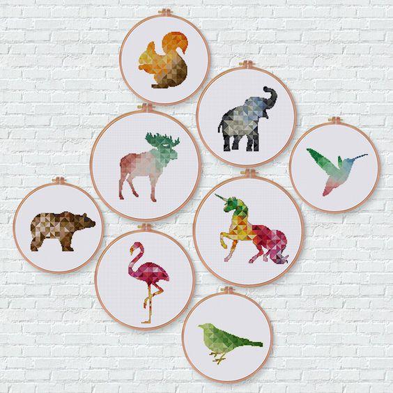 Geometric Hummingbird cross stitch pattern modern bird instant download