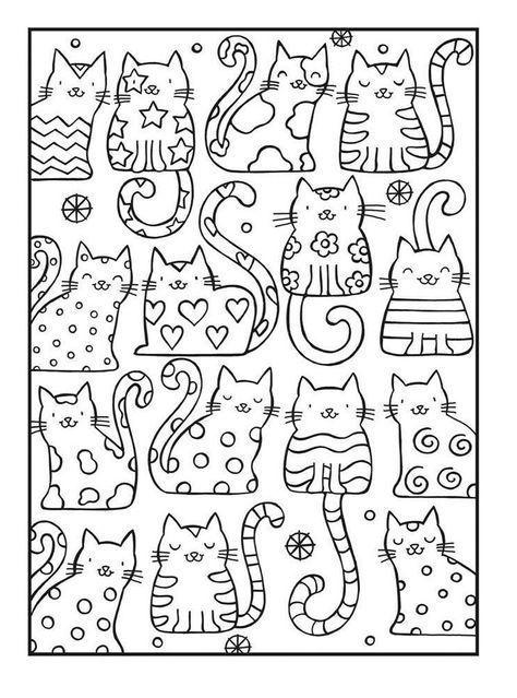 Doodles Cats Doodles Malvorlagen Zum Ausdrucken Malbuch Vorlagen Malen Und Zeichnen