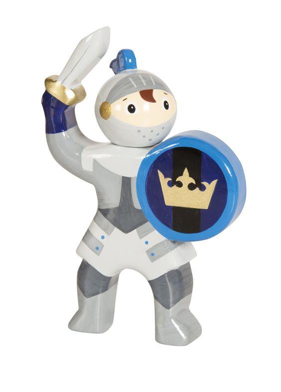 Le Chevalier à l'épée bleu, une figurine médiévale en bois peint de la collection Mystery de la marque Le Coin des Enfants. Pour animer de couleurs chatoyantes les décors des Châteaux forts du moyen âge.  A partir de 3 ans+