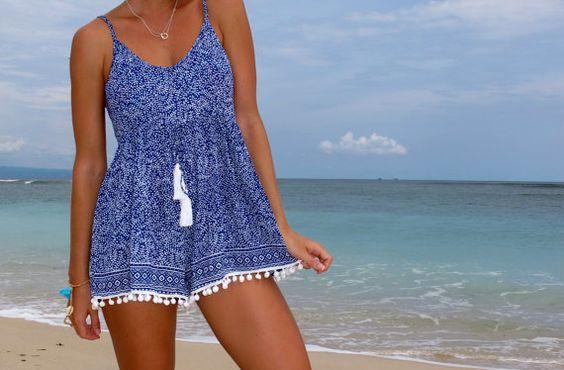 Pom Pom Jumpsuit / Combi robe courte plage bleu de par ljcdesignss