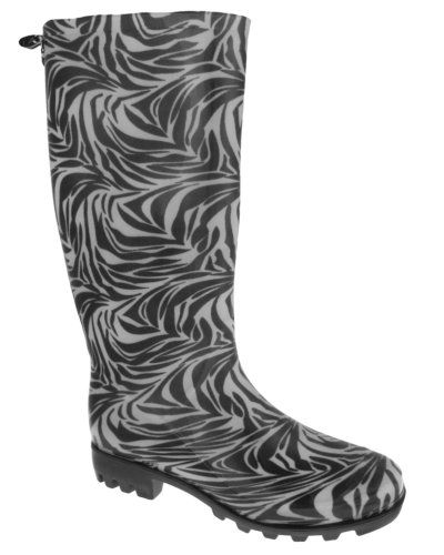 Capelli New York Wildlife Zebra Print Back Pull Loop Ladies Basic Body Jelly Rain Boot