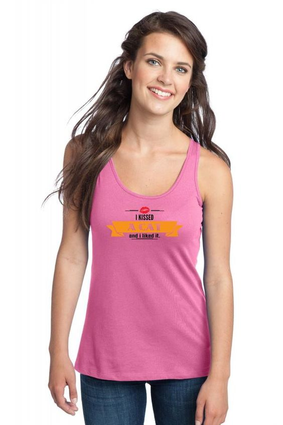 i kissed a cat and i liked it Racerback Tank