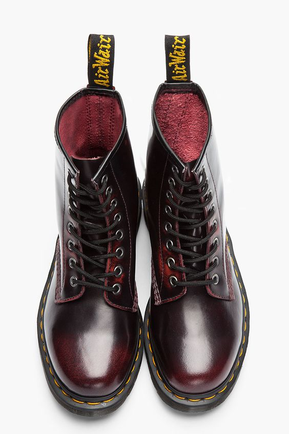 DR. MARTENS //    Burgundy Brushed Leather 1460 8-Eye Boots: