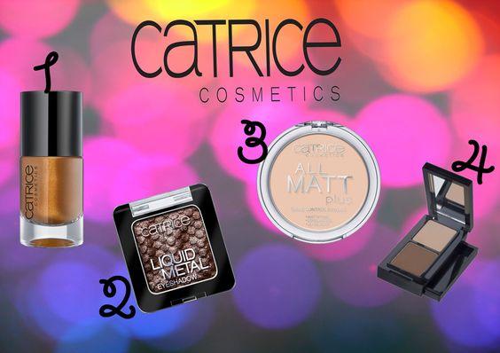 Catrice 1/Ultimate Nail Lacquer 2/Ombre à paupière liquide métallique 3/Poudre Catrice All Matt Plus Shine Control 4/Set Eyebrow