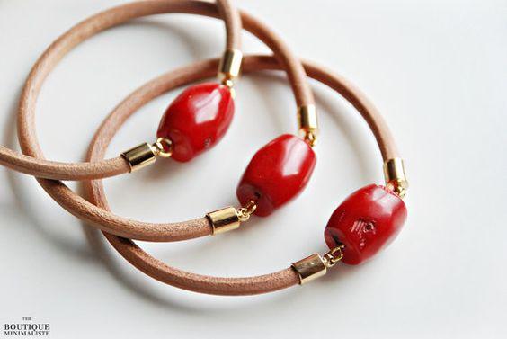 Leather bangle bracelet - Coral