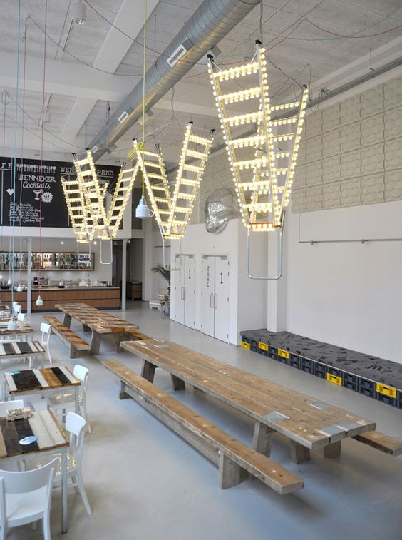 It all started with a new safety ladder we ordered for the studio and carnival lights we used for a different project. When they arrived it suddenly seemed like the perfect illogical combination to make. Rawness and glitter. 'Stairway to heaven' became a brilliant and attractive object, there to illuminate an Industrial theater-café in Schiedam by Studio Bertjan Pot.