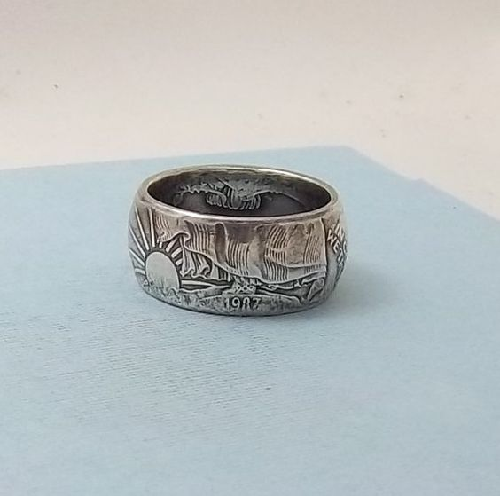 Valentine Gift for a Man Silver Eagle coin ring  999 by azcoinart