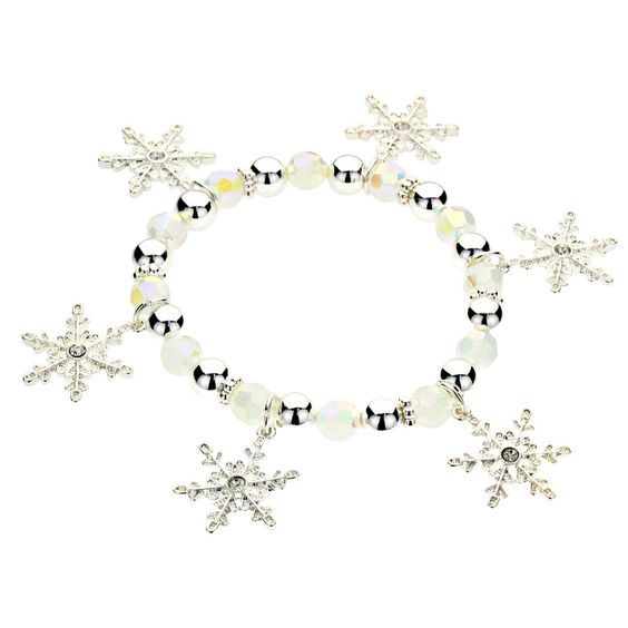 Frozen Snowflake Stretch Bracelet with Opalescent Crystals