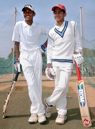 Manoj Kumar and Mohammed Shaibaz pose after their world-record stand of 721, St Peter's High School v St Phillip's High School, Hyderabad, November 15, 2006